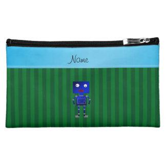 Personalized name blue robot green stripes makeup bag
