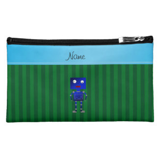 Personalized name blue robot green stripes makeup bags