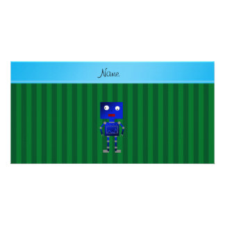 Personalized name blue robot green stripes photo card
