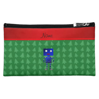 Personalized name blue robot green trees makeup bags