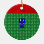 Personalized name blue robot green trees ornament