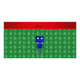 Personalized name blue robot green trees photo card