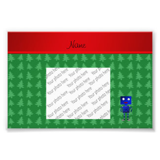Personalized name blue robot green trees photograph