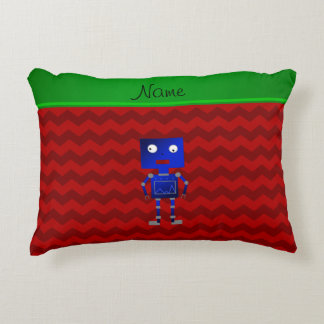Personalized name blue robot red chevrons accent pillow