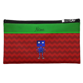 Personalized name blue robot red chevrons cosmetic bags