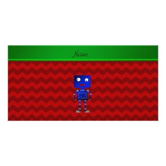 Personalized name blue robot red chevrons photo card