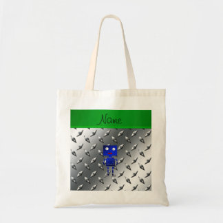 Personalized name blue robot steel plate tote bag