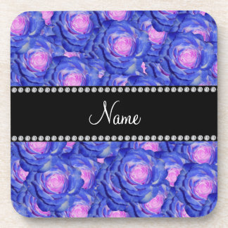 Personalized name Blue roses Drink Coaster