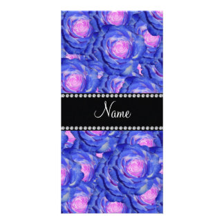 Personalized name Blue roses Photo Card
