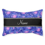 Personalized name blue roses small dog bed