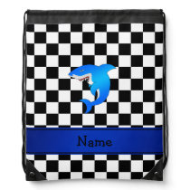 Personalized name blue shark black white checkers drawstring backpack