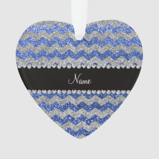 Personalized name blue silver glitter chevrons