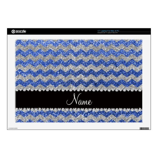 Personalized name blue silver glitter chevrons laptop decals