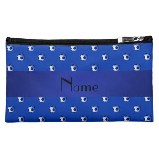 Personalized name blue soccer balls cosmetic bag