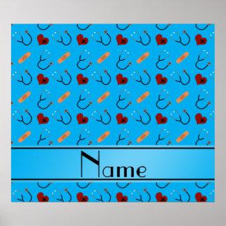 Personalized name blue stethoscope bandage hearts poster