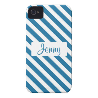 Personalized name blue stripe iPhone 4 case