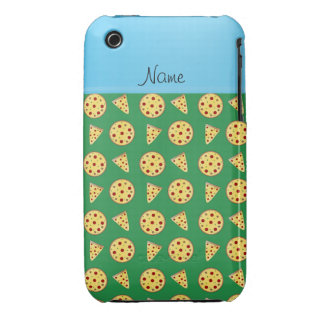 Personalized name blue stripe green pizzas iPhone 3 cases