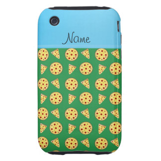Personalized name blue stripe green pizzas iPhone3 case