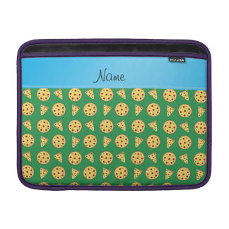Personalized name blue stripe green pizzas MacBook air sleeve