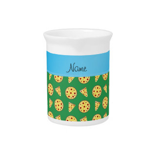 Personalized name blue stripe green pizzas pitchers