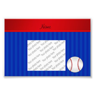 Personalized name blue stripes baseball photo print