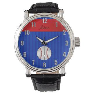 Personalized name blue stripes baseball watch