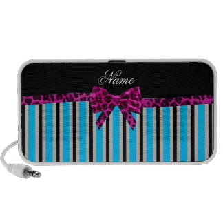 Personalized name blue stripes pink leopard bow travelling speaker