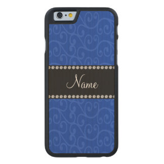 Personalized name blue swirls carved® maple iPhone 6 slim case