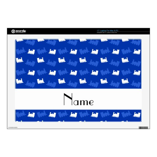 """Personalized name blue train pattern 17"""" laptop decal"""