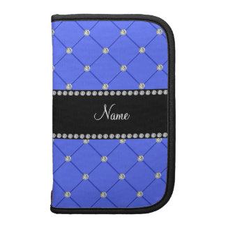 Personalized name blue tuft diamonds folio planner