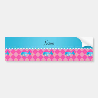 Personalized name blue whale pink argyle bumper stickers