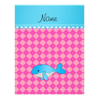 Personalized name blue whale pink argyle flyer