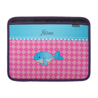 Personalized name blue whale pink argyle MacBook air sleeve