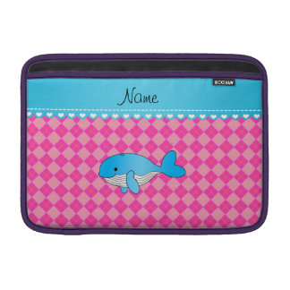 Personalized name blue whale pink argyle sleeves for MacBook air