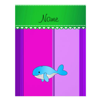 Personalized name blue whale pink purple stripes personalized flyer