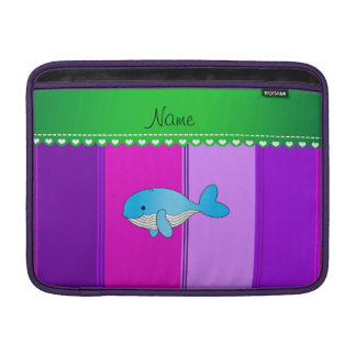 Personalized name blue whale pink purple stripes MacBook sleeve