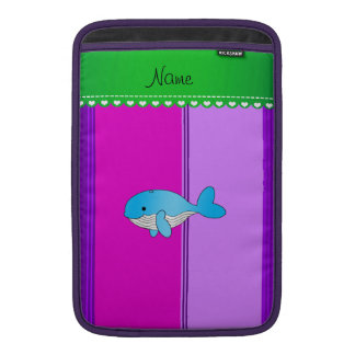 Personalized name blue whale pink purple stripes MacBook air sleeves