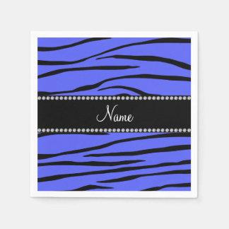 Personalized name blue zebra stripes standard cocktail napkin