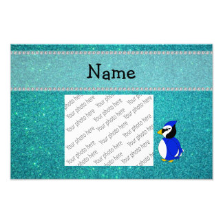 Personalized name bluejay turquoise glitter photo print