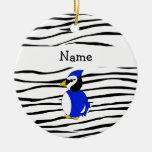 Personalized name bluejay zebra stripes ceramic ornament