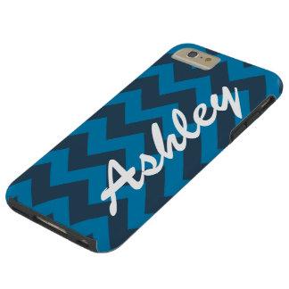 Personalized Name Blues Jam Chevron Pattern Tough iPhone 6 Plus Case