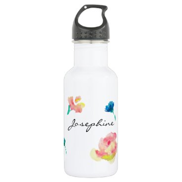 Beach Themed Personalized Name, Boho Flower watercolor painting Stainless Steel Water Bottle