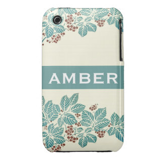 Personalized Name Botanical Ivy Berries Jade Teal iPhone 3 Case