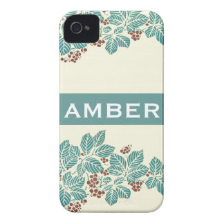 Personalized Name Botanical Ivy Berries Jade Teal Blackberry Cases