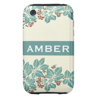 Personalized Name Botanical Ivy Berries Jade Teal iPhone 3 Tough Case
