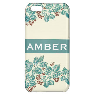 Personalized Name Botanical Ivy Berries Jade Teal Case For iPhone 5C