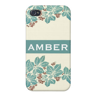 Personalized Name Botanical Ivy Berries Jade Teal iPhone 4/4S Cases
