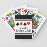 "Personalized name bridge playing cards<br><div class=""desc"">Personalized name bridge playing cards. Cool gift for men who love playing bridge and other card games. Four suits design with custom name bridge club. Also available for poker. Personalize for dad,  uncle,  brother,  son,  grandpa etc.</div>"