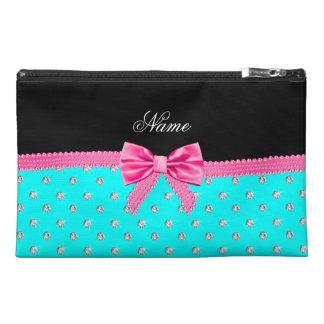 Personalized name bright aqua diamonds pink bow travel accessory bag