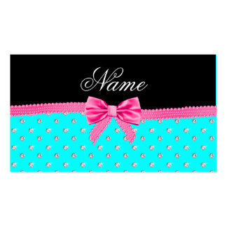 Personalized name bright aqua diamonds pink bow business card templates